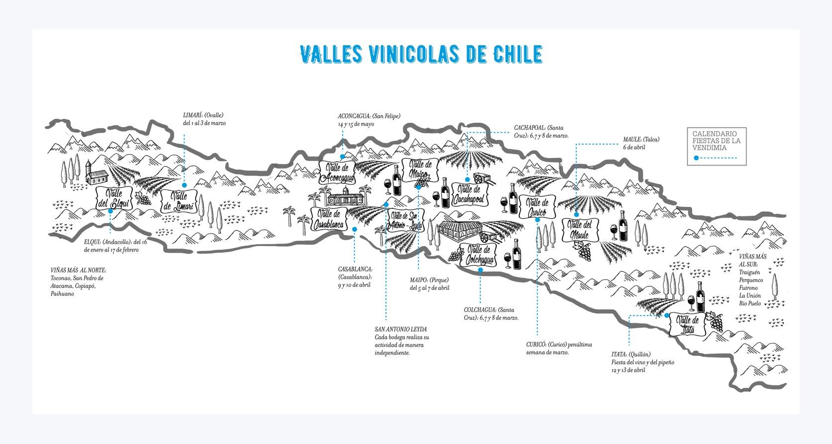 Mapa de enoturismo de Chile